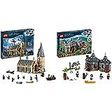 LEGO 75954 Harry Potter Gran Comedor de Hogwarts - Juguete de Construcció + Harry Potter - Cabaña de Hagrid Rescate de Buckbeak, Juguete de Construcción con Hipogrifo