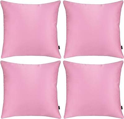 Hodeacc Lot de 4 taies d'oreiller en satin soyeux, housses de coussin décoratives solides pour canapé, chaise, canapé, 40 x 40 cm