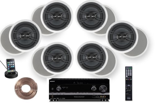 """Sony HD Digital 770 Watts 7.1 Channel 3D A/V Receiver + Yamaha Natural Sound Custom Install In-Ceiling 3-Way 100 watts Speaker (Set of 6) with Dual Tweeters & 6-1/2"""" Woofer + 100ft 16 AWG Speaker Wire"""