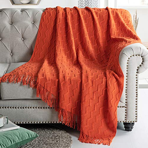 SiinvdaBZX 100% Acrylic Knit Throw Blanket Textured Solid, Decorative Knitted Blanket with Tassels for Couch, Bed, Sofa, Travel, 51' x 67', Rust Orange