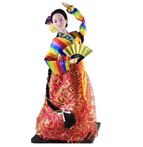 Traditional Korean Costume Girl Belle Standing Doll Hanbok Court Dress Korea resteraunt Decor Car/Desktop Decor Xmas Gift…