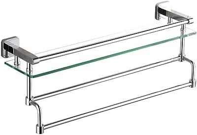 二重棒シャワーの棚と長方形完全な銅の浴室フレームの壁の台紙の単層 (Color : 41.2X13X22.3CM)