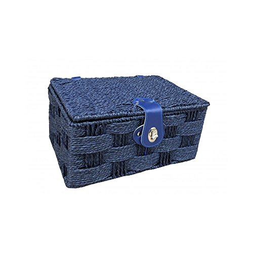 Medium Twisted Blue Paper Picnic Basket