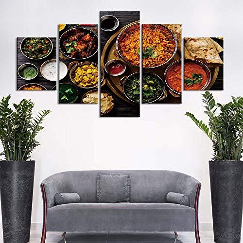 5 Piece Canvas Decoración Del Hogar Lienzo Pintura Cereal Especias Cuchara Pimentón Cocina Cartel Impresiones Pared Arte Pintura Sin Marco