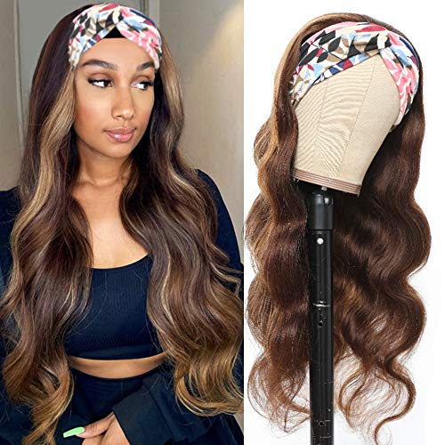 Headband Wig Long Body Wavy Wigs for Black Women 24 Inch Glueless Ombre Brown Wigs with Hairband Machine Made Synthetic High Heat Resistant Fiber Black Brown Synthetic Headband Wigs Suitable for Daily Use