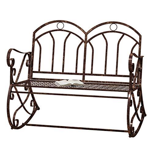 Outsunny Panchina a Dondolo da Giardino in Metallo a 2 Posti con Braccioli, 104x75x95.5cm, Colore Bronzo