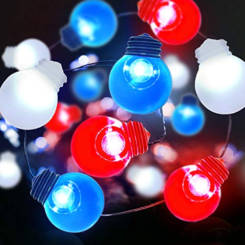 TURNMEON 10Ft 40Led American Flag Ball String Lights Red White Blue Fairy Light Battery Operated Copper Wire USA Flag Patriotic Decoration for Memorial Day, 4th of July, Independence Day, National Day