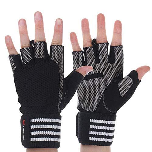 JIAHE115 Mini-handschoenen, mannen en vrouwen, fitnesshandschoenen, rek oefening, halter, uitrusting, pols, training dragen, halve vingers, antislip, sport, ademende handschoenen