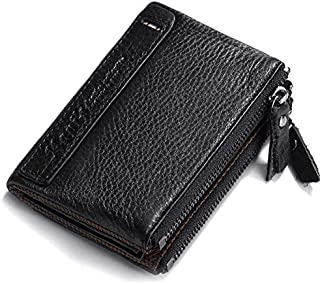 100% Genuine Leather Vintage Small Women Wallets Female Womens Wallet Zipper Design with Coin Purse Pockets Mini Walet