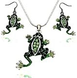 DianaL Boutique Beautiful Emerald Green Frog Pendant Necklace and Earrings Set 21' Chain