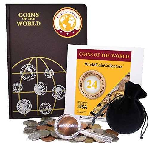 Zaioo World Coin Collectors Starter Kit ♥ 24 Coins from All Over The World + Coin Album + Magnifying Lens + Coin Bag…