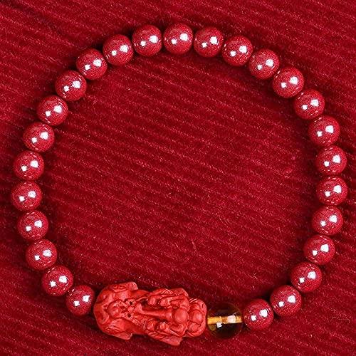 Perlas de oración islam festivo feng shui pulsera pulsera riqueza cinnabar brazalete feng shui pulsera para mujeres cinabar cuentas pixiu pi yao pulsera buddha perlas pulsera pulsera elástica pulsera