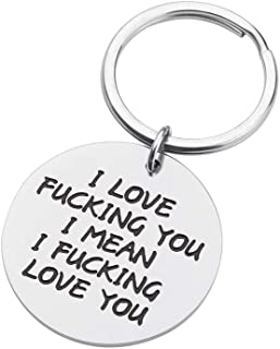 Couples Gifts Keychain for Boyfriend Girlfriend I Love You Personalized Valentine's Day Gift Christmas Anniversary Birthday Dog Tag Charm Pendant Keyring for Husband Wife Him Her