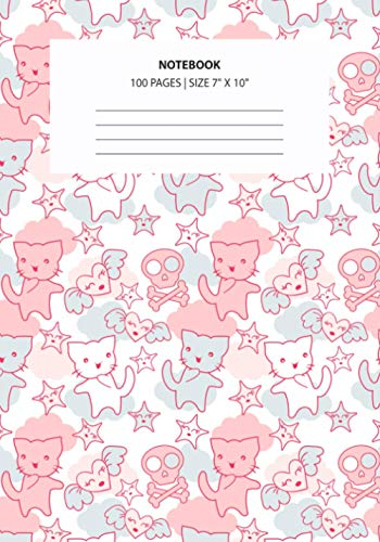 Notebook: Cute Cat Goth Skull Japanese Style Kawaii Heart Cloud - Personal Journal/Notebook with Blank Lined Pages - Perfect Diary, Planner, Dream Journal, or Goal-Setting Notebook