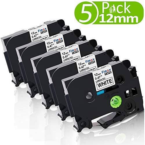 Nastro per Etichette Fimax Compatibile In sostituzione di Brother P-touch Laminato Tape Cassetta TZe-231 12mm per PT-H107B 1000 H105 1010 Cube PT-P300BT H110 H100LB (Bianco, 5Pz.)