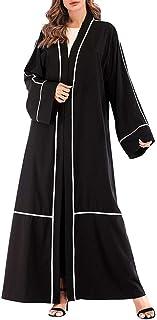 عباية نسائية بأكمام طويلة لملابس الخروج في دبي قفطان مسلم عباءة ثوب طويل الشرق الأوسط - مقاس XXL (كاكي)