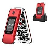 Ushining Teléfonos Móviles para Mayores con Teclas Grandes, Fácil de Usar Celular para Ancianos con Botón SOS y Base cargadora, Doble SIM Radio FM Cámara Linterna - Rojo