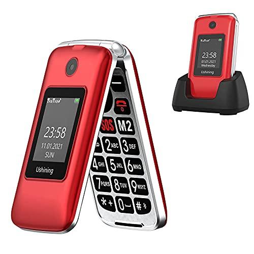 Ushining 3G Telefono Cellulare per Anziani, Telefono Cellulare a Conchiglia con Tasti Grandi Volume Alto Funzione SOS Base di Ricarica Doppio Schermo di Visualizzazione (1,77  e 2,8 ) - Rosso