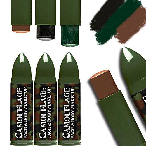 Lápices de Colorete | Maquillaje de Color de Camuflaje | Maquillaje para Disfraz Soldado | Pintura en Barrita Militar