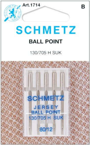 Schmetz 1714C Ball Point Jersey Machine Needles, Size 80/12, 5-Pack