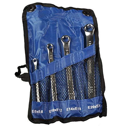 4 teiliges Set Schraubenschlüssel mit Aussen-Torx E-Profil E6 - E24 aus Chrom-Vanadium-Stahl