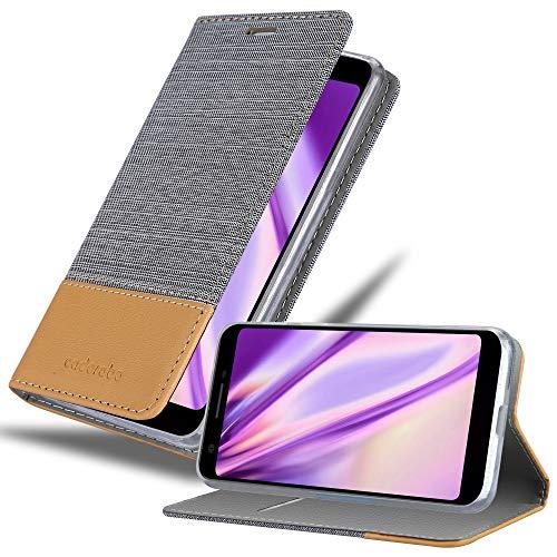 Cadorabo Hülle für Google Pixel 3a in HELL GRAU BRAUN - Handyhülle mit Magnetverschluss, Standfunktion & Kartenfach - Hülle Cover Schutzhülle Etui Tasche Book Klapp Style