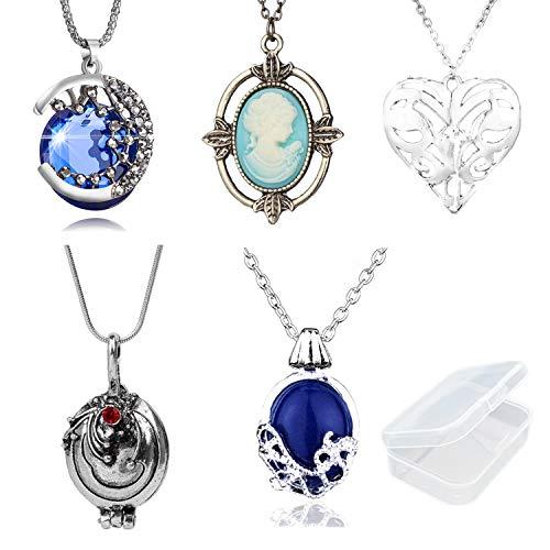 PPX 5 Stück The Vampire Diaries Halsketten für Fans - Daywalking Katherine Halskette - Verbena Halskette Kette kann Silber Kostümzubehör öffnen - mit transparenter Aufbewahrungsbox
