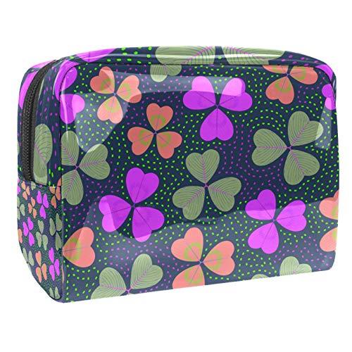 Bolso Cosmético Color de la Hoja en Forma de corazón Bolso de Maquillaje Bolsa de Almacenamiento portátil Estuche de Maquillaje con asa Makeup Toiletry Bag 18.5x7.5x13cm