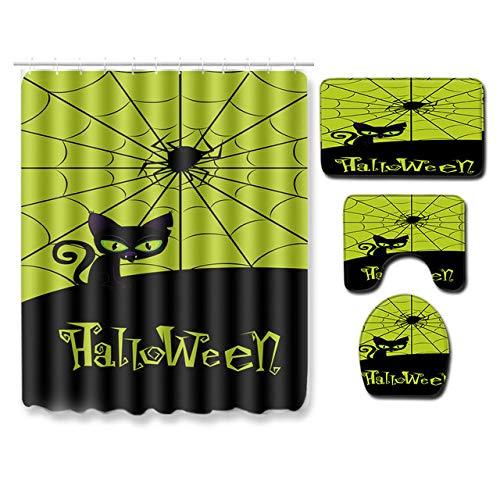 KEAINIDENI toiletmat Fashion Halloween 4-delig badkamertapijt set PVC douchegordijn badkamertapijt anti-slip badmat afdrukken toiletmat set deurmat S 45x75cm Q97