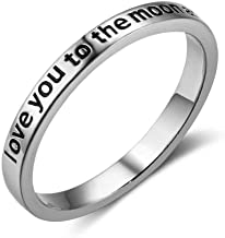 Lam Hub Fong Love You to The Moon and Back Rings for Women Sterling Silver Rings Band for Girlfriend Gift