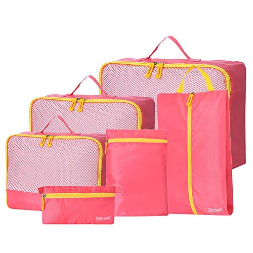 Aimili Packing Cubes for Suitcase Travel Organiser Bags Set, Packing Cubes for Travel Luggage Organiser Bag Compression Pouches Clothes Suitcase Pack of 6 Pink