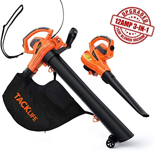 TACKLIFE Leaf Vacuum, Leaf Blower Vacuum with 45L Collection Bag, 5 Variable Blow Speed, 3-in-1 Blower