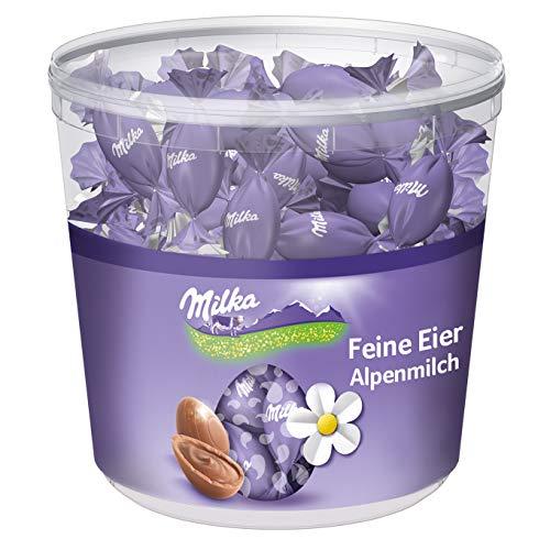 Milka Feine Eier Alpenmilch 1 x 900g, Zartschmelzende Alpenmilch Schokolade mit cremiger Füllung