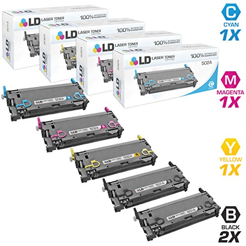 Price comparison product image LD Remanufactured Toner Cartridge Replacement for HP 501A & HP 502A (2 Black,  1 Cyan,  1 Magenta,  1 Yellow,  5-Pack)