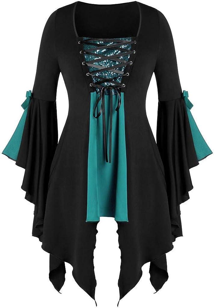 Jaqqra Dress Steampunk for Women Halloween Lace Gothic Bandage Punk Criss Cross Insert Sleeve T-Shirt Plus Size Tops