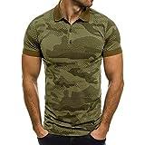 Camisas Hombre Manga Corta 2019 Moda SHOBDW Verano Cuello Mao Blusa Baratas Casual Estampado de Camuflaje Camisetas Hombre Basicas Slim Fit XXL(Verde,M)