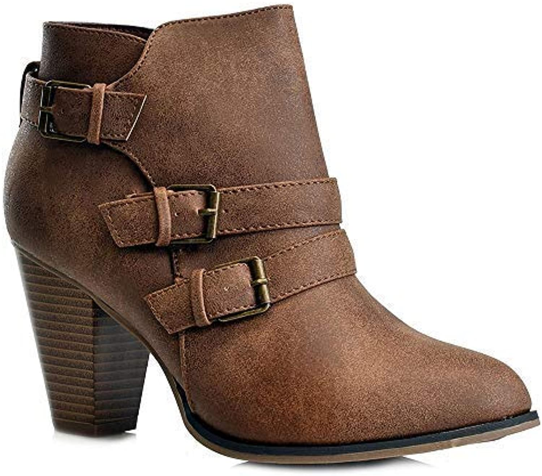 Woherrar mode Chunky Block Heel Booslipss Buckle Strap Zipper Ankle stövlar CA64