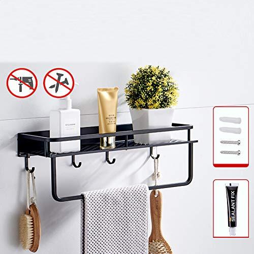 Rek voor kruiden, plank voor keuken, wandrek, kruidenrek, dubbel gebruik, met handdoekhouder, voor keuken, meubels, badkamer (zwart), 40 + handdoekhouder + haak