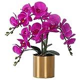 LESING Artificial Orchid Flower with Vase, White Orchid Bonsai Faux Orchid Phalaenopsis Plant Pot Arrangements for Home Decoration (Purple,Gold Vase)