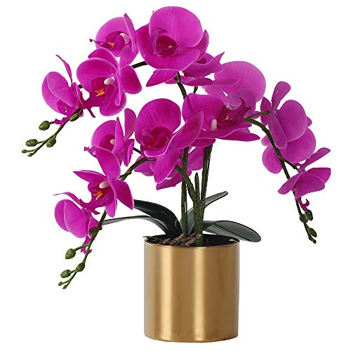 LESING Artificial Orchid Flower with Vase, White Orchid Bonsai Faux Orchid...