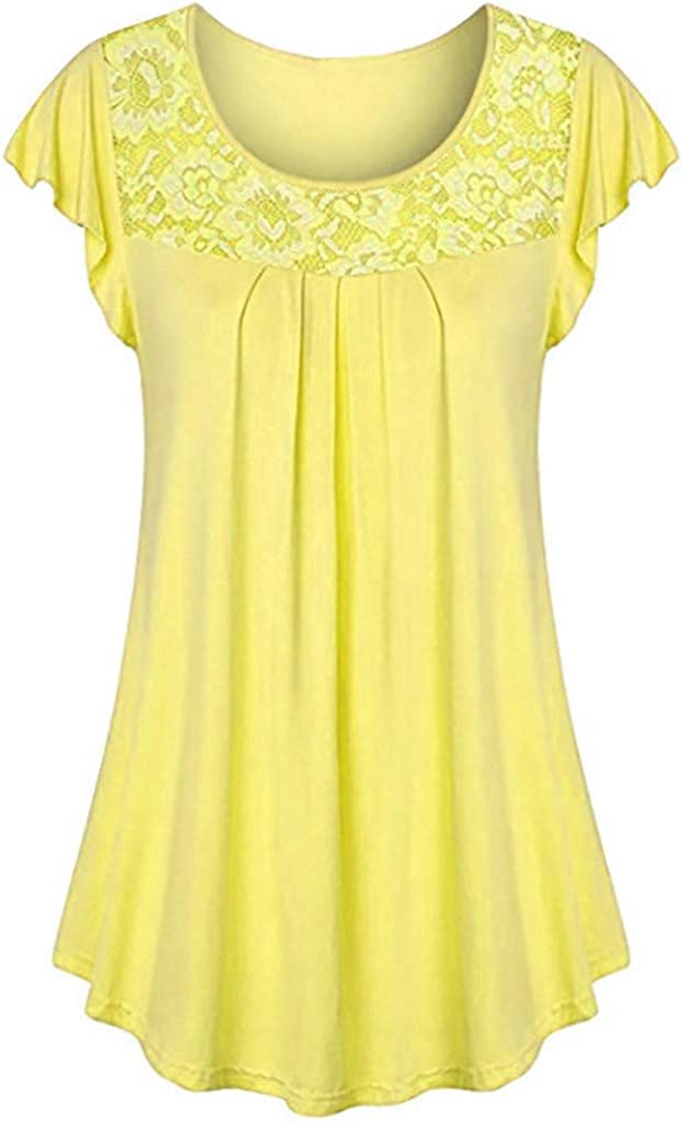 Tunics for Women to Wear with Leggings Short Sleeve Solid Scoop Neck Pleated Lace Patchwork Ruched Blouse Tops Shirt