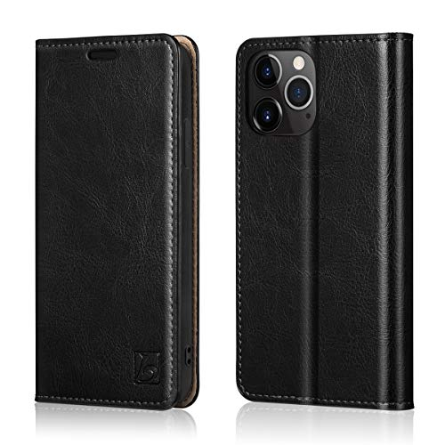 """Belemay Compatible with iPhone 12 Pro Max Wallet Case (6.7"""" 2020) Genuine Cowhide Leather [RFID Blocking] Folio Flip Cover Credit Card Holder [Soft TPU Shell] Protective Book Folding Case, Black"""