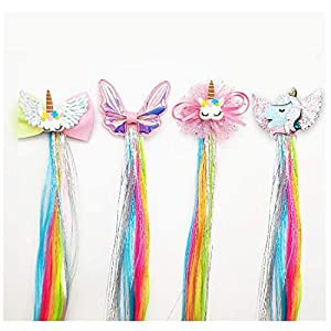 Sunormi 4 Pcs Multi-Colors Princess Kids Hair Clips In 15 Inch Straight Synthetic Hair Extensions Unicorn Butterfly Ponytails Hair Hairpieces For Girls Daily Dress Up