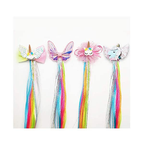 Sunormi 4 Pcs Multi-Colors Princess Kids Hair Clips In 15 Inch Straight Synthetic Hair Extensions Unicorn Butterfly Ponytails Hair Hairpieces For Girls Daily Dress Up 3