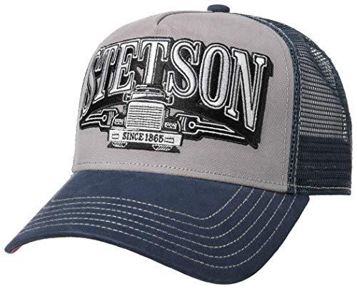 Stetson Truckercap Trucking Trucker Basecap Baseballcap Meshcap Snapcap one Size by (one Size, blau, grau)
