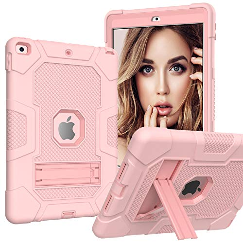A-BEAUTY Case for iPad 8/7 (10.2 Inch, 2020/2019 Model, 8th / 7th Generation), with [Screen Protector] [Pen] [Shockproof] [Kickstand], Rose Gold