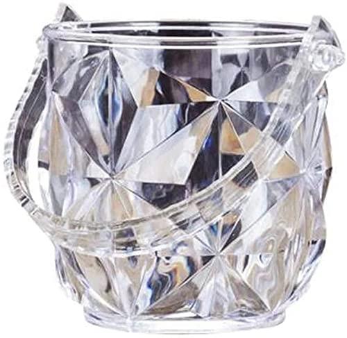 ZRDSZWZ Fiable 1 PC acrílico barra cubo de hielo dos manijas Champagne cubo vino saliva barril contenedor Ktv Club Bar Suministros