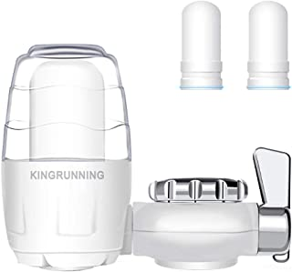 KINGRUNNING Faucet Water Filter, Water Filter System with Activated Carbon, Adsorb Harmful Heavy Metals and Sediments, Fits Most Standard Faucets with 3 Filters
