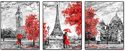 Black and White Paris Posters Art Painting Set of 3 8 X10 Red Paris Theme London Big Ben Tower product image
