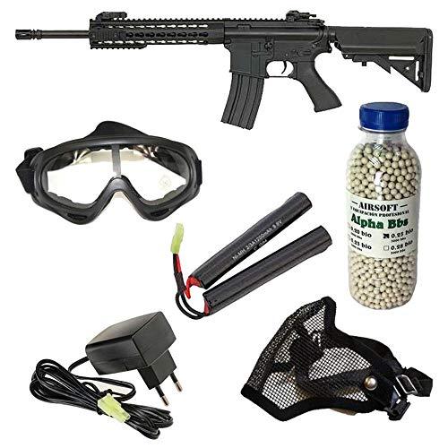 Pack iniciación Fusil Airsoft M4 Cyma con batería y Cargador + Gafas de protección + máscara de Rejilla + 3000 Bolas 0,25 g